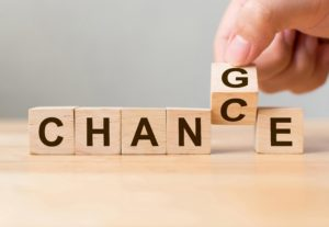 hand flipping word chance to change